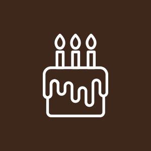 Icona con torta di compleanno e candeline